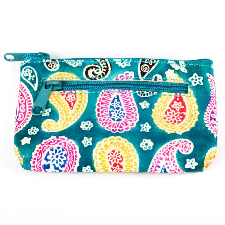 Blue leather paisley coin purse   TradeAid