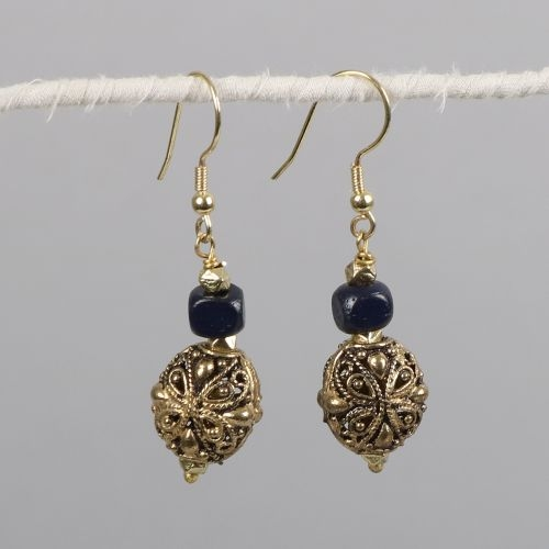 Antiqued brass earring with blue bone bead   TradeAid