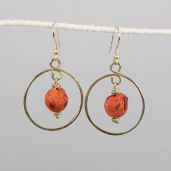 Loop earrings with recycled fabric bead | TradeAid