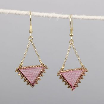 Triangle earrings with pink threadwork | TradeAid