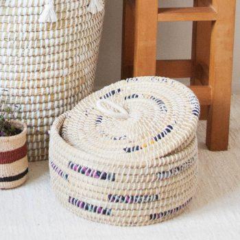 Kaisa and fabric lidded basket | TradeAid