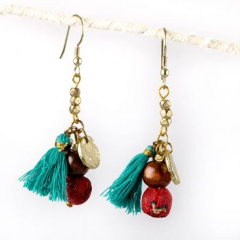 Teal tassel earrings | TradeAid