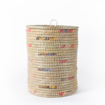 Kaisa and recycled sari lidded laundry basket | TradeAid