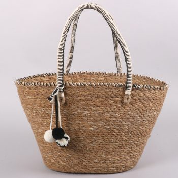 Hogla & cotton shopper with pom poms | TradeAid