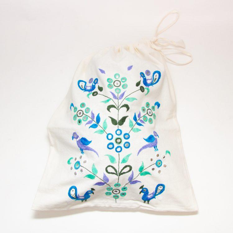Embroidered tree of life drawstring bag | TradeAid