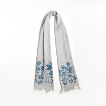 Grey and blue embroidered cotton flower and bird scarf | TradeAid