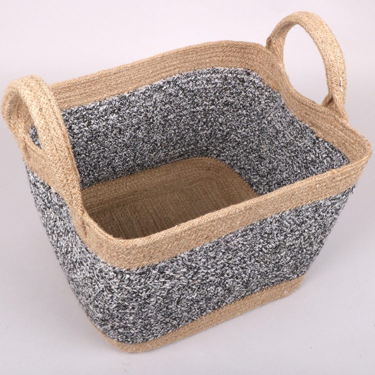 Black and white square jute basket | Gallery 1 | TradeAid