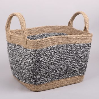 Black and white square jute basket | TradeAid