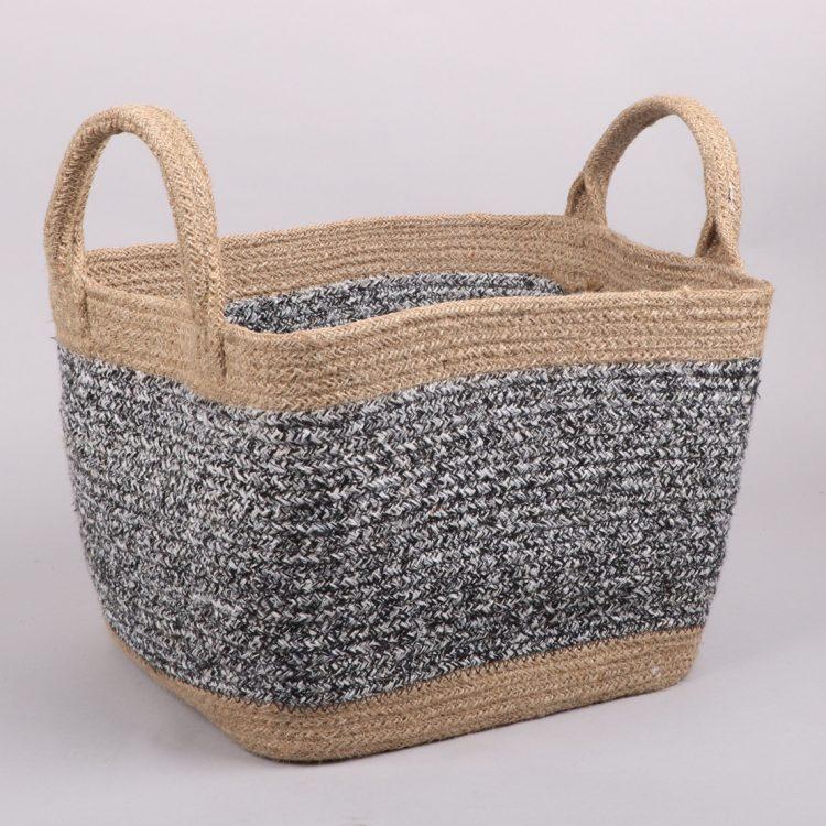 Black and white square jute basket | TradeAid