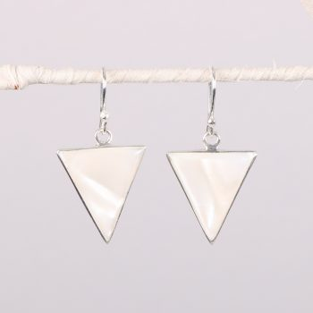 Silver plated triangle shell earrings | TradeAid
