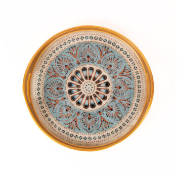 Reverse painted glass blue floral tray | TradeAid