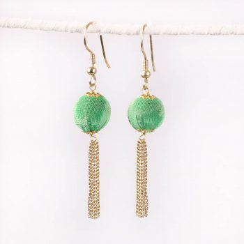 Green recycled fabric bead earrings with  chain tassel | TradeAid