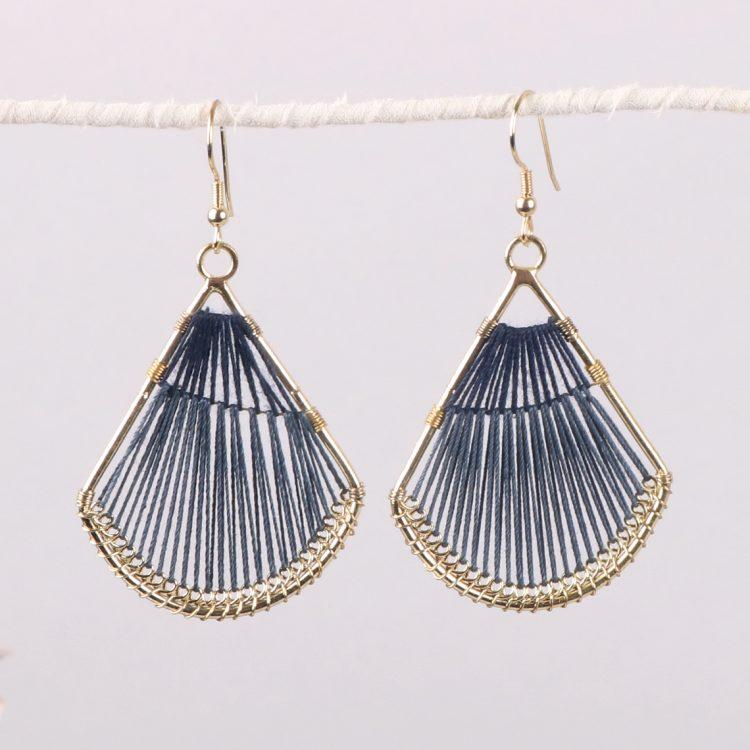 Blue threadwork earrings   TradeAid