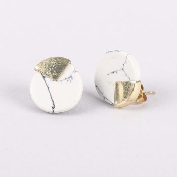 White marbled clay studs | TradeAid