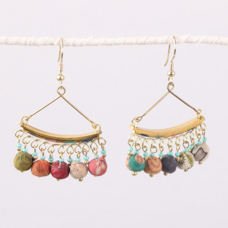 Multi-coloured recycled bead earrings | TradeAid