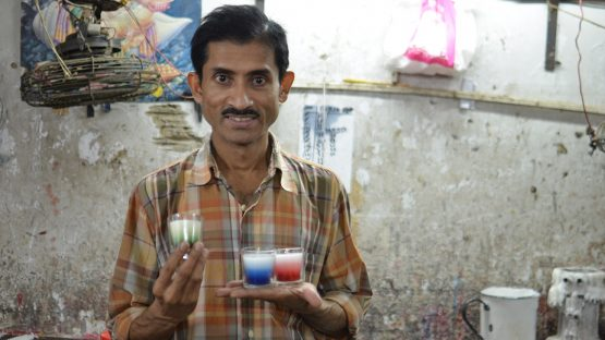 Supuriyo Chatterjee, a candle maker who describes his workplace as 'joyful'