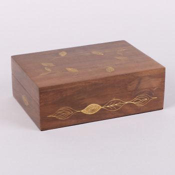 Sheeshamwood box with brass leaf inlay | TradeAid