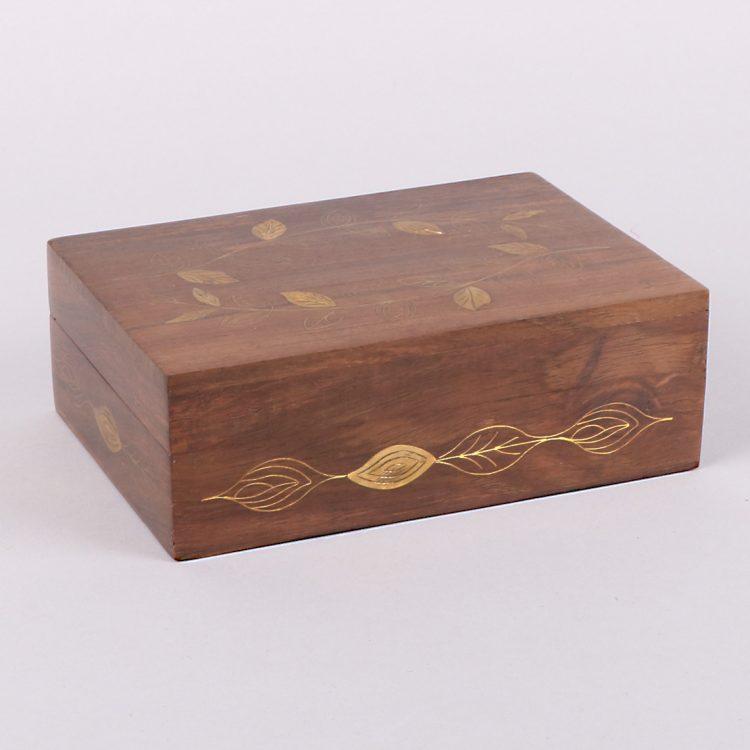 Brass leaf sheesham wood box | TradeAid