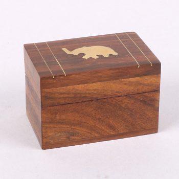 Sheeshamwood box with elephant inlay | TradeAid