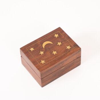 Small sheeshamwood box with moon and star inlay | TradeAid