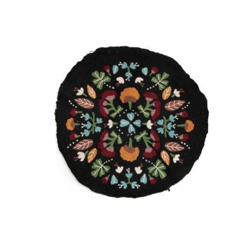 Black floral numdha rug | TradeAid