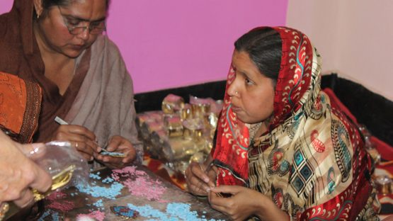 Artisans making stone jewellery
