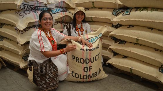 Aurora and Alejandra with coffee bound for Trade Aid