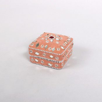 Pink lac box with mirrorwork detail | TradeAid