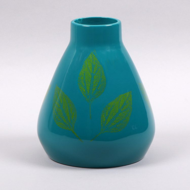 Teal vase with green leaves | TradeAid