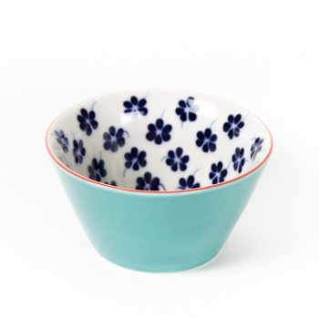 Teal bowl with floral design   TradeAid