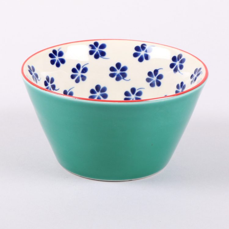 Teal bowl with floral design | TradeAid