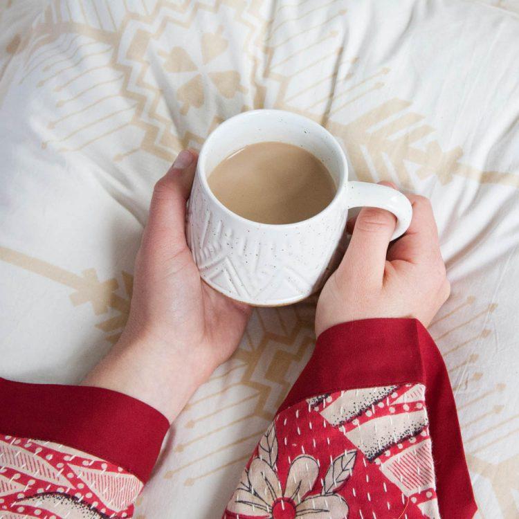 White linear speckle mug | TradeAid