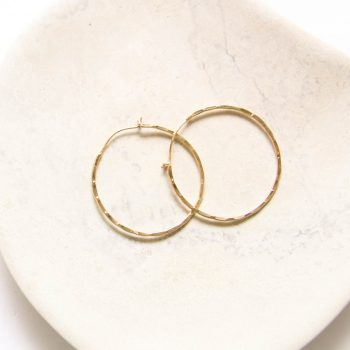 Golden hammered hoop earrings | TradeAid