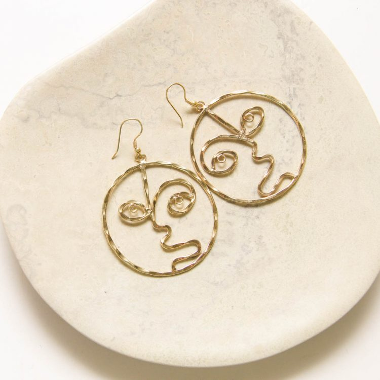 Gold colour face earrings | TradeAid