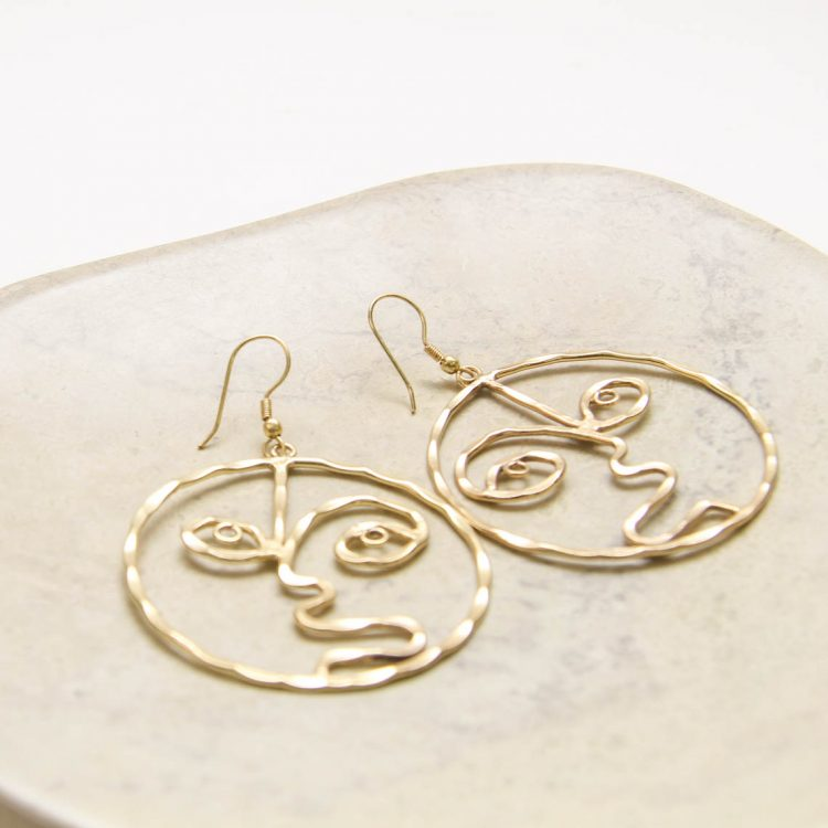 Gold colour face earrings | Gallery 1 | TradeAid