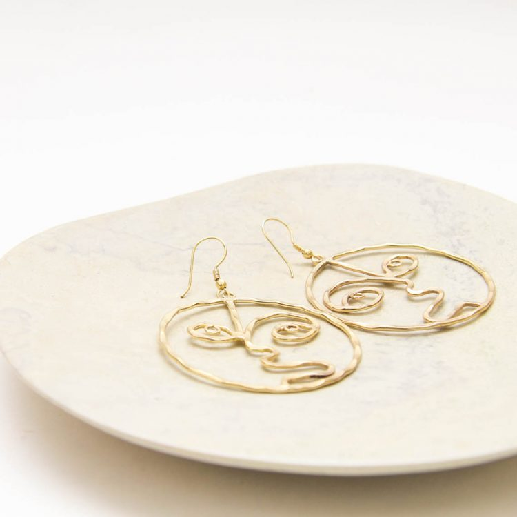 Gold colour face earrings | Gallery 2 | TradeAid