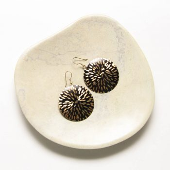 Black and brass etched disc earrings | TradeAid