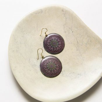 Purple etched disc earrings | TradeAid