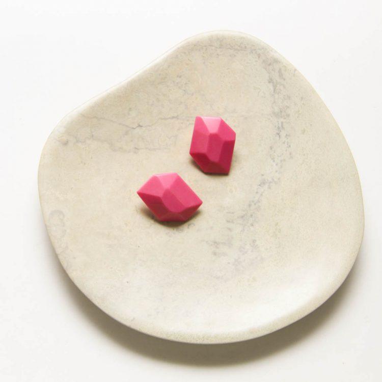 Pink resin gem stud earrings | TradeAid