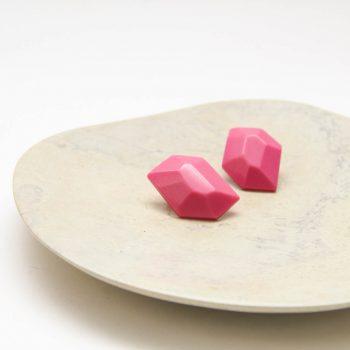 Pink resin gem stud earrings | Gallery 1 | TradeAid