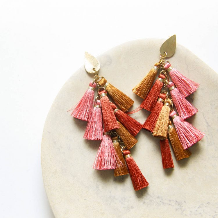Rose and gold tassel earrings | TradeAid