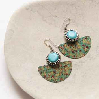 Antiqued brass earrings with green bead | TradeAid