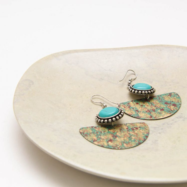 Antiqued brass earrings with green bead | Gallery 1 | TradeAid