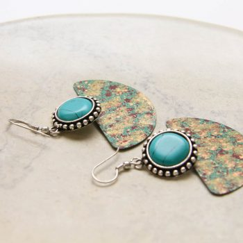 Antiqued brass earrings with green bead | Gallery 2 | TradeAid