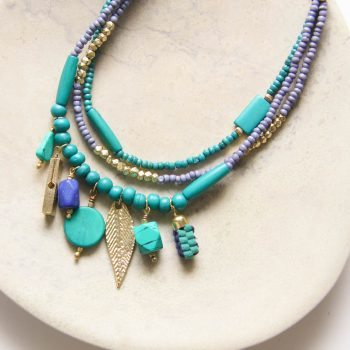 Blue and green bone bead necklace | TradeAid
