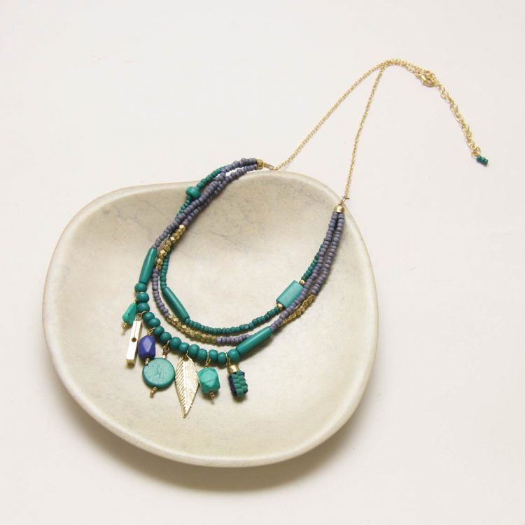 Blue and green bone bead necklace | Gallery 1 | TradeAid
