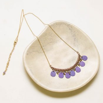 Antiqued brass necklace with purple discs | TradeAid