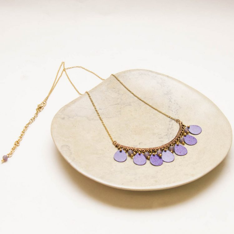 Antiqued brass necklace with purple discs | Gallery 1 | TradeAid