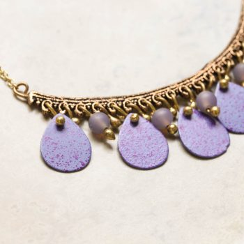 Antiqued brass necklace with purple discs | Gallery 2 | TradeAid