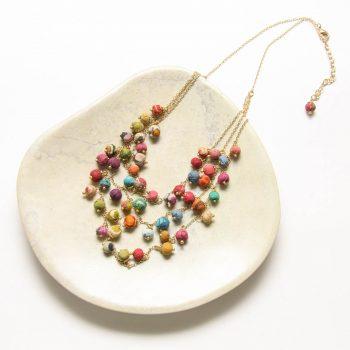 Multi strand fabric bead necklace   TradeAid
